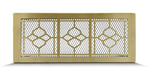 Lüftungsgitter Luftgitter Warmluftgitter Kamin Gitter - Retro Gold (Conn Elegant Style) verschiedene Größen 17x17cm 17x30cm 17x40cm - mit oder ohne Lamellen