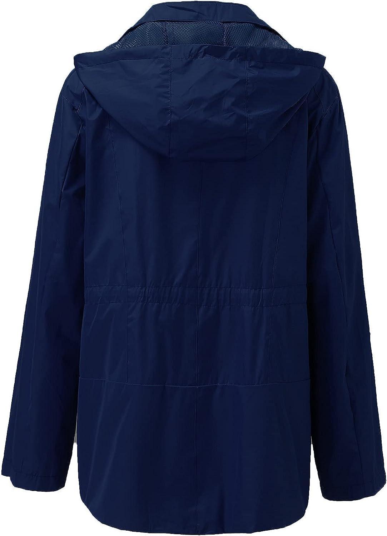 GXLONG Women's Waterproof Jacket Warm Winter Snow Coat Hooded Raincoat Pocket Vintage Long Sleeve Zipper Rain Jacket Coats