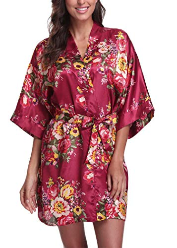 Women's Floral Satin Bridesmaid Gift Short Robe Bathrobe Bridal Party Wedding Favor (Adult Regular (US 2-14), Burgundy Red)