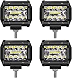 LED Light Bar TURBO SII LED Pods 4 Inch 60W Off Road Driving Lights Triple Row Spot Flood Beam LED Fog Lights Led Work Lights for Jeep Trucks Polaris Boats Pickup UTV ATV,1 Year Warranty,4 Pack