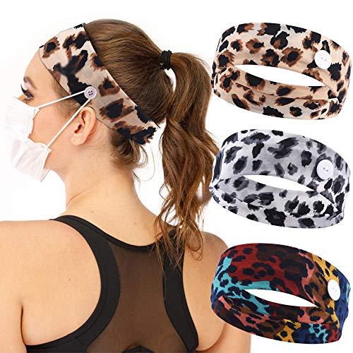 Vidsel Headband Buttons Non-slip Yoga Hairbands 3pcs for Women Men