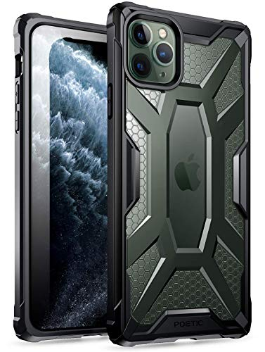 Poetic Apple iPhone 11 PRO Max Custodia, Protettiva Ibrida Trasparente, Robusta e Leggera, Serie Affinity Custodia per Apple iPhone 11 PRO Max(2019), Nero/Chiaro