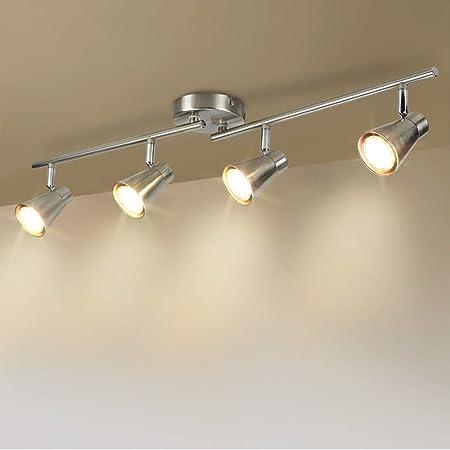DLLT 4-Light Led Track Lighting Kit, Flush Mount Spotlight Ceiling, Directional Ceiling Light for Kitchen, Dining Room, Bedroom, Office, Brushed Nickel, GU10 Bulbs Included
