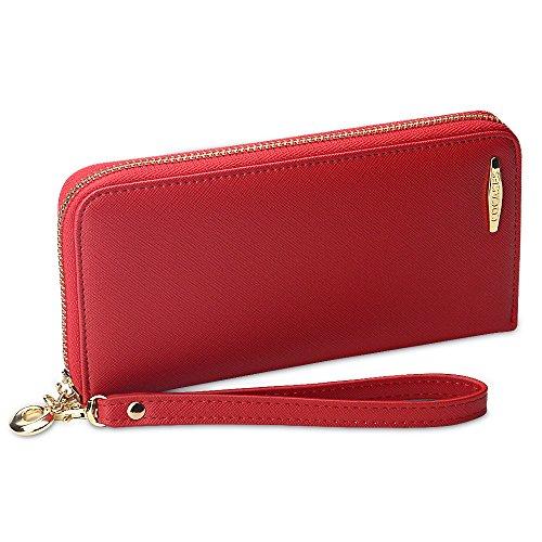 COCASES Damen Geldbörse, Elegant Kunstleder Langbörse mit Reißverschluss und Schlaufe Rot