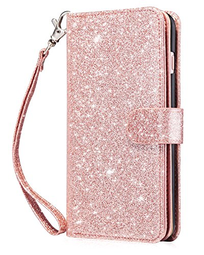 Dailylux Case for iPhone 6 / iPhone 6S - [Built-in 9 Card Slots] Protective Faux Leather Folio Flip Wallet Case for Apple iPhone 6 / 6S 4.7 Inch, Rose Gold