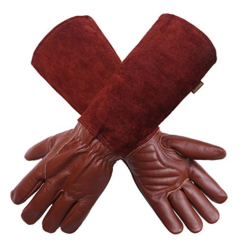 Gardening Gloves for Women/Men- Alomidds Rose Pruning Thorn & Cut Proof Long Elbow Durable Cowhide Leather Gardening Gloves for Pruning Cacti Rose and Thorny Bushes (XL, BROWN)