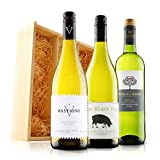 Classic White Wine Trio in Wooden Gift Box - 3 Bottles (