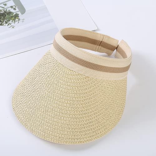 QAZW Sombrero para El Sol para Mujer Sombrero De Verano Gorra De Béisbol Viseras para Sombrero De ala Ancha para Mujer Gorra con Visera Al Aire Libre Visera Transpirable para Deportes,Beige-1
