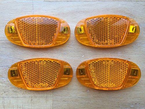 4x Fahrrad Speichen Reflektoren - Katzenauge - orange / gelb - Speichenstrahler