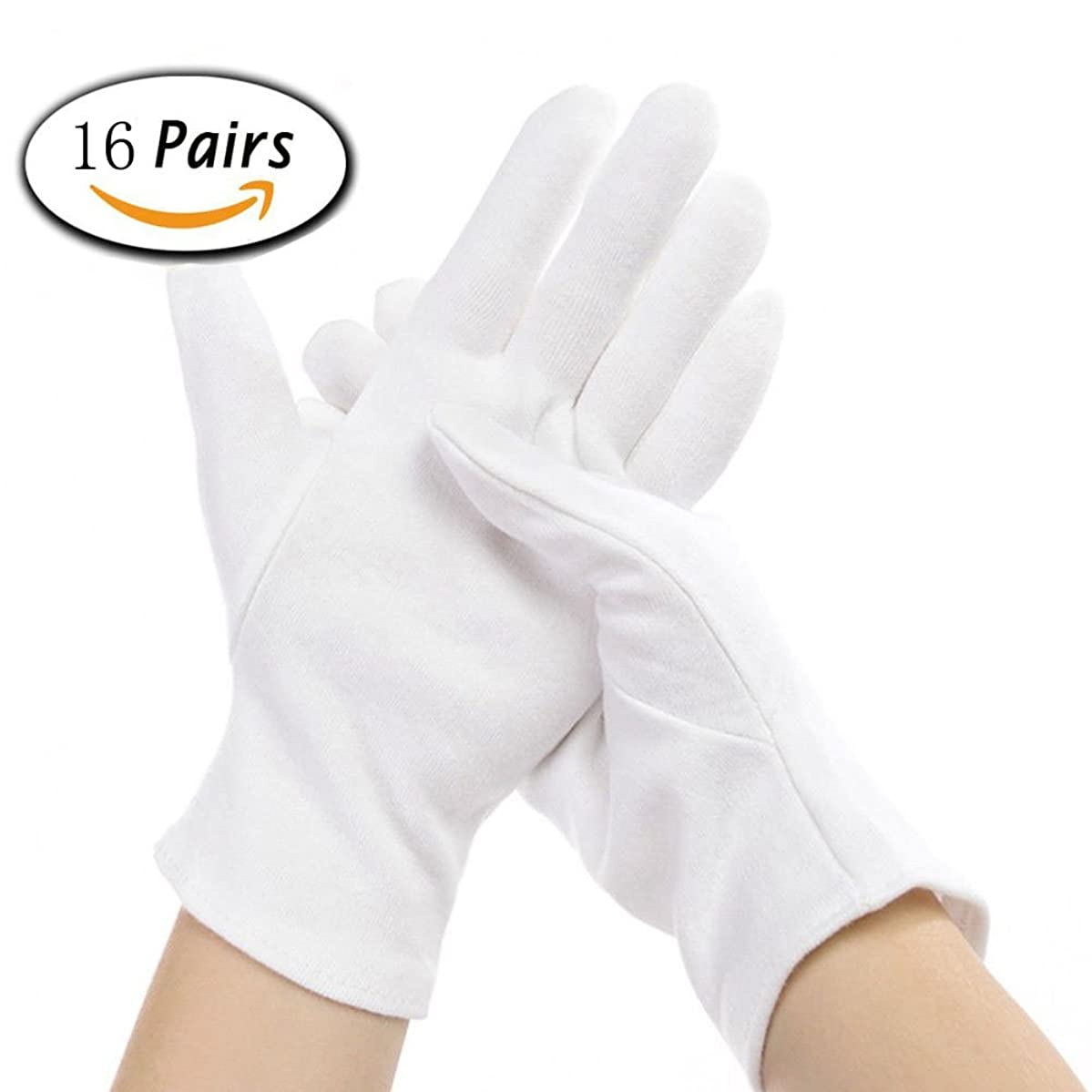 16 Pairs White Cotton Gloves for Coin Jewelry Silver Inspection, 8.6