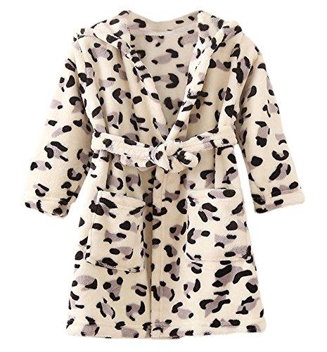 DELEY DELEY Unisex Kinder Mädchen Jungen Kapuzen-Bademantel Morgenmantel Weiches Coral-Fleece Nachtwäsche Warm Tier Pyjamas Schwarz Leopard Größe 104/110