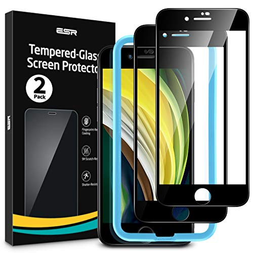 ESR Full-Screen Panzerglas kompatibel mit iPhone SE(2020)/8/7 Schutzfolie [2 Stück][ mit praktischem Montagerahmen und [3D-gerundeten Kanten] Panzerglas Displayschutzfolie für iPhone SE/8/7(2020)