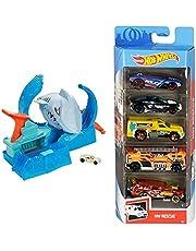 Hot Wheels City Pista de Coches de Juguete Salto de Tiburón Color Shifter (Mattel GJL12) y Pack de 5 Vehículos, Modelos Surtidos (Mattel 1806)