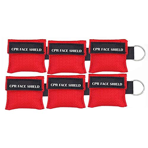Nuluxi CPR Maske Schlüsselanhänger Beatmungstuch Schlüsselanhänger Erste Hilfe Beatmungsmaske Rückschlagventil Atmen Barriere für Erste Hilfe oder AED Training Leicht zu Transportieren Rot(6 stück)