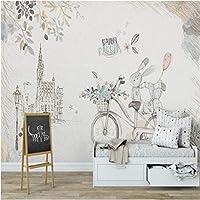Iusasdz カスタム大壁紙壁画子供用北欧シンプルウサギ子供部屋装飾背景壁280X200Cm