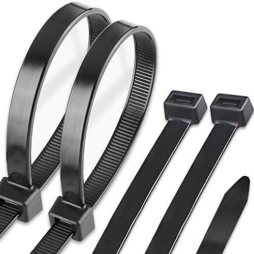 Caiery 100 Stück Große lange Kabelbinder 350 mm x 7,6 mm, UV-Beständig ultra starke Kabelbinder mit 50 kg Zugfestigkeit, Schwarz