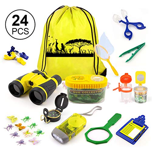 KAQINU Kids Explorer Kit, 24 PCS Outdoor Adventure Camping Kit & Bug Catcher Kit with Drawstring Bag, Binoculars, Compass, Butterfly Net, Educational Nature Exploration Toys Gift for Boys & Girls