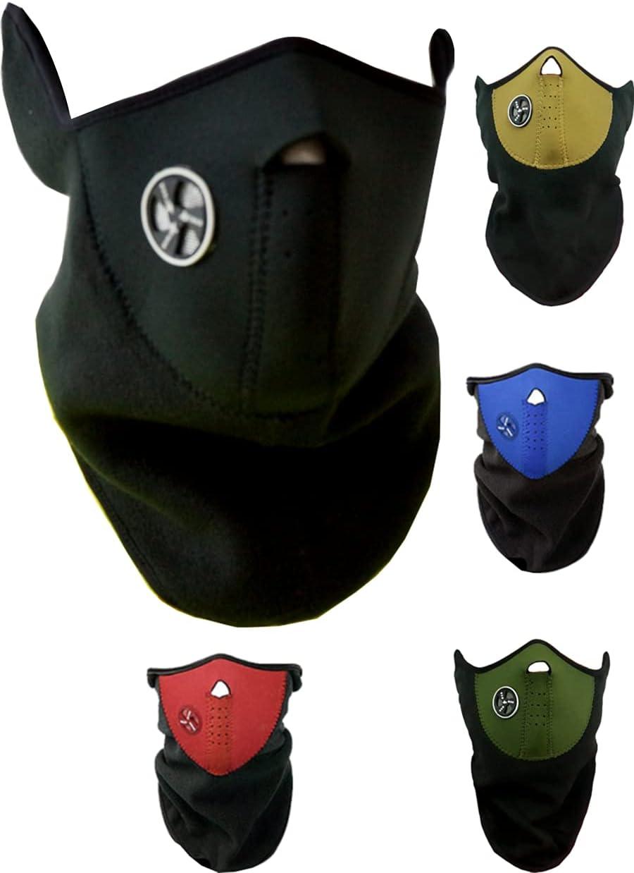 MBS Braga de Cuello térmica, Mascara Neopreno Cuello y Cara Resistente al Viento, Balaclava, Moto y Deportes de Invierno, (Negro