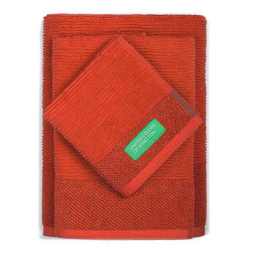 Set 3pcs Toallas de baño (30 x 50 + 50 x 90 + 70 x 140 cm) 450 gsm 100% algodón Rojo Casa Benetton