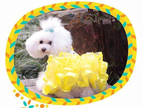 犬服 ふわふわワンピース チュールスカート コスチューム 着ぐるみ お嬢様オシャレワンピース かわいいちょう結び 犬洋服 ドッグウエア いぬ服 イエロー (XL)