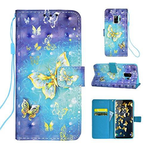 VemMore Samsung Galaxy S9 Hülle Handyhülle Ledertasche Schutzhülle Leder Hülle Brieftasche Flip Case Halter mit Kartenfach Magnetverschluss Standfunktion Muster Lila Eule Goldschmetterling