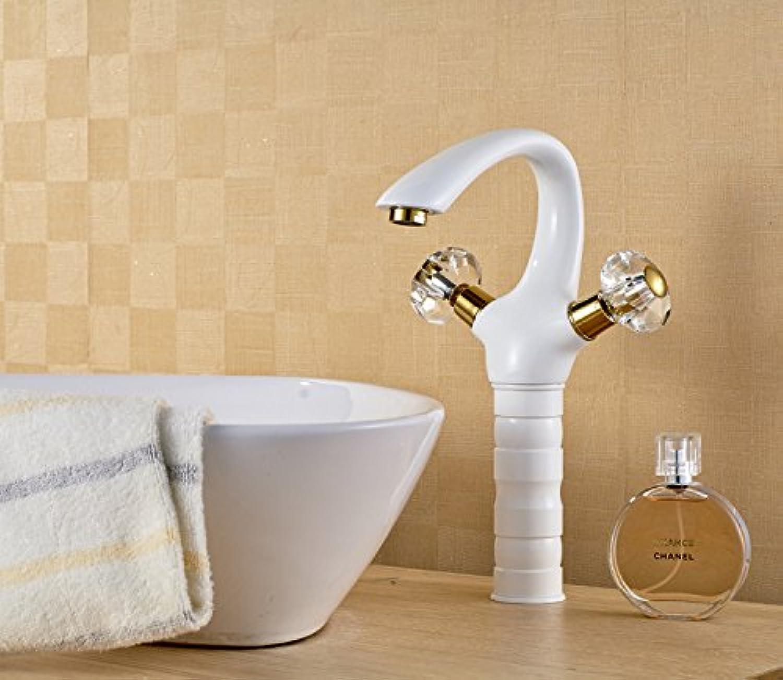 MangeooNeue Backen von weier Farbe mit Goldenen verchromt Kristallkugel, doppeltes Waschbecken, Spüle Wasserhahn, hohe Winkelstück