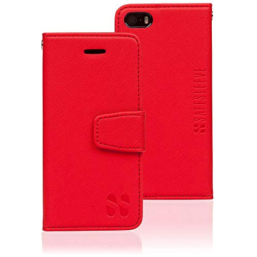 SafeSleeve EMF Protection Anti Radiation iPhone Case: iPhone SE and iPhone 5/5s RFID EMF Blocking Wallet Cell Phone Case (Red)