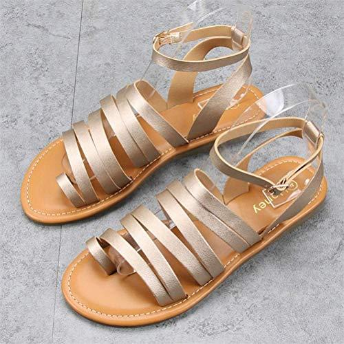 QLIGHA Moda de Verano Zapatillas para Mujer Sandalias con Hebilla de Correa Sandalias Ajustables para Mujer Sandalias de juanete de corrección de Hallux Valgus de Ancho Ancho, Dorado, 40