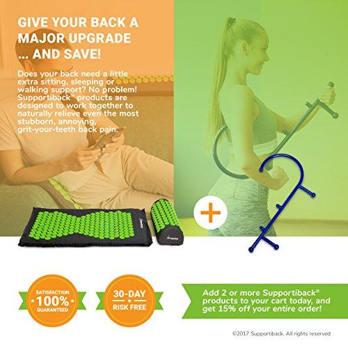 Supportiback Ensemble tapis et oreiller d'acupression, de massage pour relaxation et soulagement des douleurs, housse lavable, sac de transport inclus