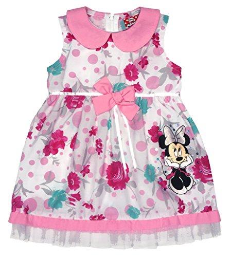 Disney Baby Mädchen Minnie Mouse FEST-Kleid Tüll-Rock Sommerkleid mit Bubikragen in Gr 74 80 86 92 98 104 110 116 122, Baumwolle Bluemnmädchen Outfit Farbe Rosa, Größe 110