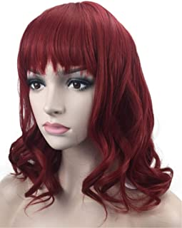 Short Curly Wavy Wine Red Wigs, Charming Rose Net Synthetic Wig with Bangs & 1 Wig Cap for Women & Girls Costume/Party/Fun/Halloween; wig029WR