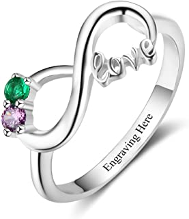 Personalized 925 Sterling Silver Infinite Ring Relationship Ring with Multiple Simulated Birthday Stones for Representing Relationship Ring-Multiple Styles Available