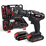 21V Cordless Drill Tool Kit,153Pcs Household Power Tools Drill Set with 2 Batteries,24+1 Torque Setting,2 Variable Speed Power Drill Set,Household Hand Tool Kit for Home Repair,DIY Project