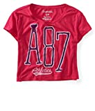 AEROPOSTALE Womens Cropped A87 Athletics Graphic T-Shirt, Pink, Large