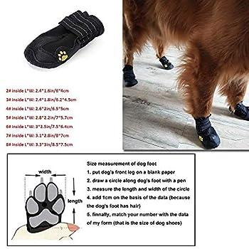 SODIAL Chaussures pour Chien ImperméAble Et Respirante Paws Anti-DéRapant Bottes pour avec des Chaud RéFléChissant Bracelet Animaux d'hiver pour Les Petits, Moyens Et Grands Chiens 7