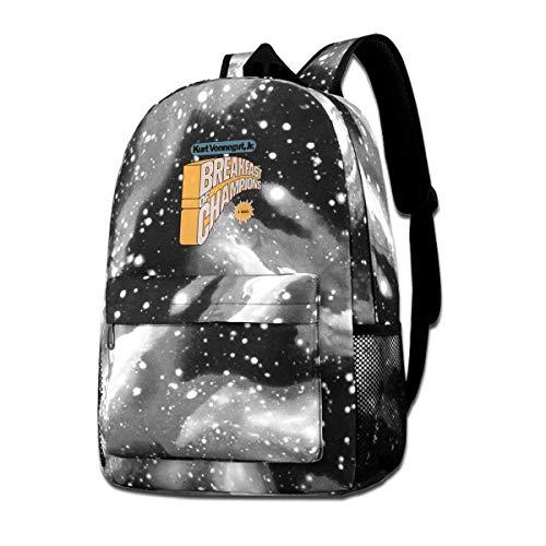 SWKLL Galaxy Printed Shoulders Bag Frühstück der Champions Fashion Casual Star Sky Rucksack für Jungen & Mädchen