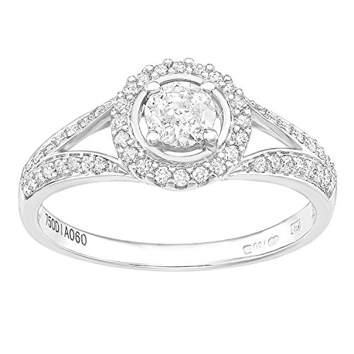 Naava 18ct wit goud ronde halo 0.60ct diamant solitaire verlovingsring