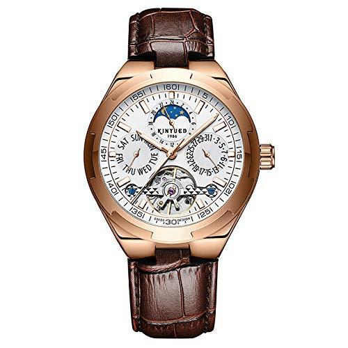 JTTM Multifuncional Hollow Flywheel Star Calendario Reloj De Hombre Negocio Luminoso Mecánico Reloj Men's Gift,Marrón