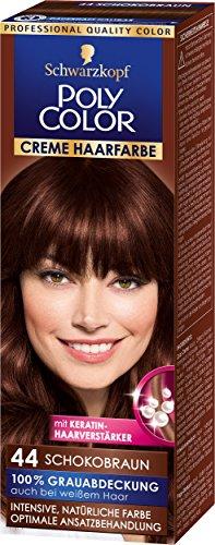 Schwarzkopf Poly Color Creme Haarfarbe, 44 Schokobraun Stufe 3, 3er Pack (3 x 83 ml)