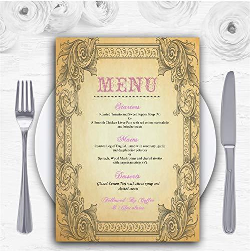 Typography Vintage Pale Pink Postkaart Gepersonaliseerde Bruiloft Menu Kaarten 10 x A6 Menus