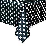 Polka Dot Plastic Tablecloth, 108' x 54', Black