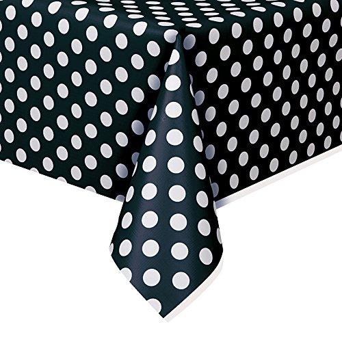 "Polka Dot Plastic Tablecloth, 108"" x 54"", Black"