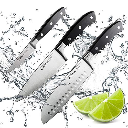 ProCook Gourmet X30 Kitchen Knife Set - Paring, Chefs and Santoku - Sharp Professional Carbon Stainless Steel Set of Knives with Anti-Tarnish Blades