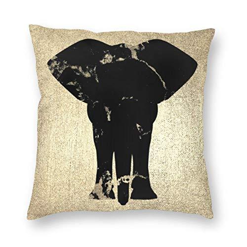 Funda de cojín cuadrada de terciopelo negro con diseño de elefante de mármol champán y champán de imitación dorado suave decorativo, funda de almohada para sala de estar, sofá o dormitorio con cremallera invisible de 20 x 20 pulgadas