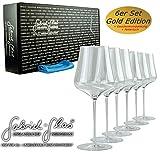 Gabriel-Glas | Gold Edition im 6 er Geschenkkarton| mundgeblasenes Weinglas | 90 Gramm leicht |...