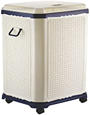 Primeway® Setag XL Multipurpose Laundry Hamper Utility Storage Basket with Lid on 4 wheels, 50 Litres, Dark Blue