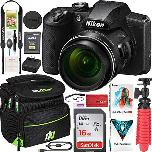 Nikon COOLPIX B600 16MP 60x Opt. Zoom Wi-Fi Digital Camera Black - (Renewed) Bundle with Deco Gear Camera Travel Bag (Small), 12 Rubberized Tripod/Grip Corel Paint Shop Pro 2019 Software and More