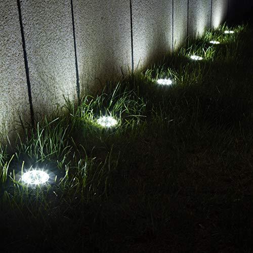 GIGALUMI 12 Pack Solar Garden Lights, 8 LED Outdoor Ground Lights Waterproof Landscape Lighting Solar Powered for Sidewalk Yard Lawn Patio Pathway Walkway Backyard Decor (White)