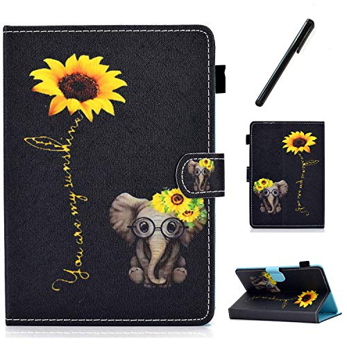 HereMore Apple iPad Mini 5 / Mini 4 / Mini 3 / Mini 2 / Mini 1 Case 7.9 Inch, PU Leather Case Shockproof Stand Cover with Card Slot and Pen Loop Protective Shell with Auto Sleep Wake, Elephant