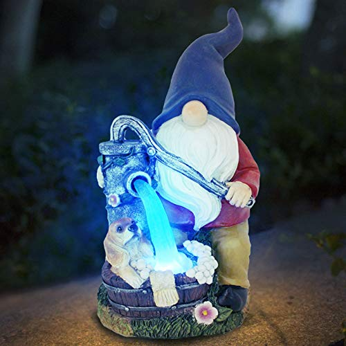 YNIEIAA Solar Garden Ornaments Outdoor 33cm Flocked Gnome Figurine with Hanging Solar Lantern Garden Statue Waterproof Resin for Yard Lawn Decorations and Gift 238(Little man in blue hat)